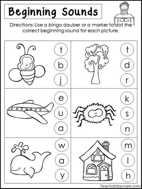 printable beginning sounds worksheets preschool st