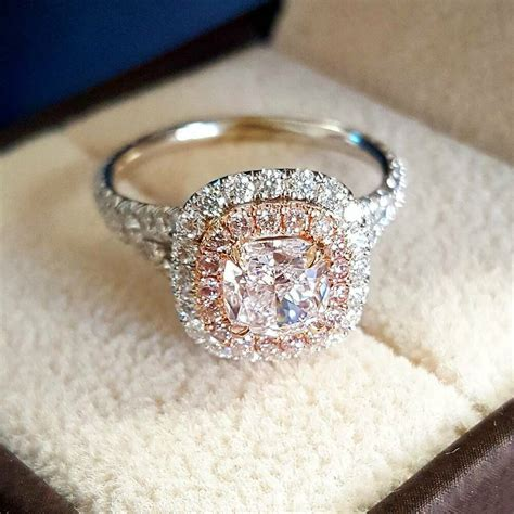 2 90 ct natural double halo split shank pink diamonds engagement ring ebay
