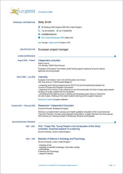 Cv Uk by Europass Curriculum Vitae Writing Tips Resumeviking