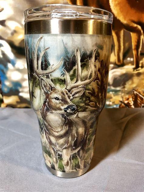 deer scene  oz stainless steel tumbler  savvybysusan  etsy yeti cup designs stainless