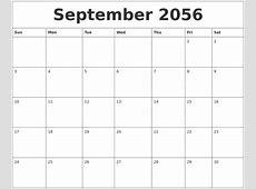 September 2056 Calendar Pages