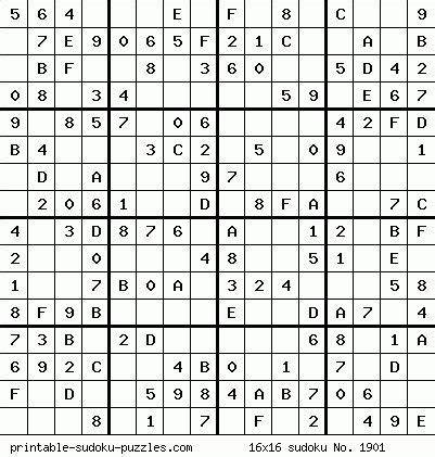 Sudoku Puzzles 16X16 With Numbers   Mungfali