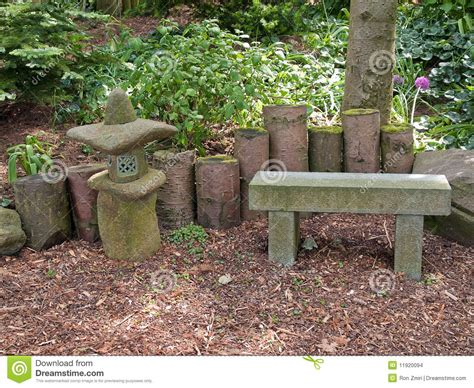 beautiful japanese garden seating corner stock