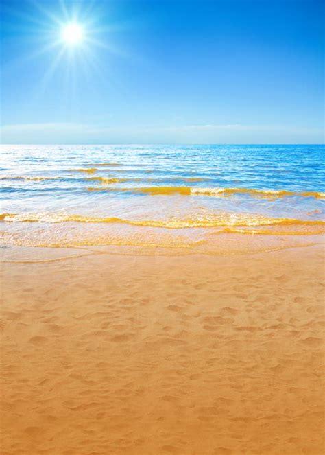 sky blue photography backdrop fabric golden sea beach