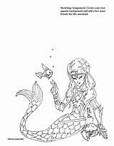 Coloring Sketches Mermaid Template Kid Practice Cartoon Sketching Sketch Sheets sketch template