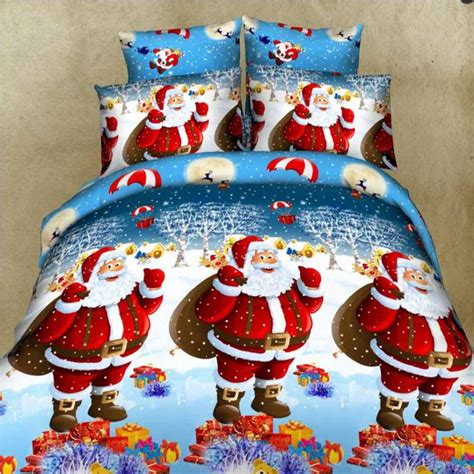 merry christmas bed duvet cover set super soft microfiber red santa clause  full pcs bed