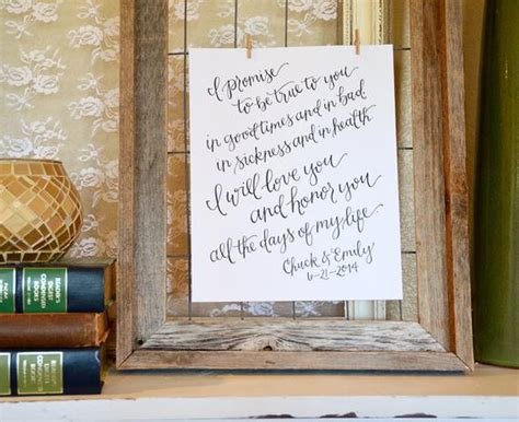 Handwritten Wedding Vows Art Print. Personalized Wedding Vow