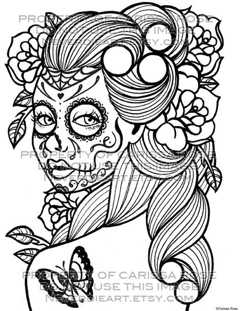 Day of the Dead Tattoo Flash - Digital Download Print Your Own Coloring Book Outline Page