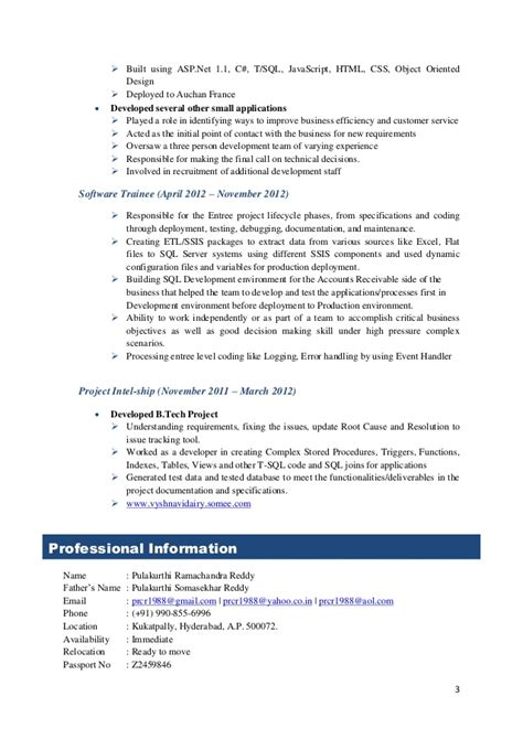 Sle Resume For 2 Years Experience In Net by Sql Server Developer Ssis Ssrs Bi Developer T Sql With 2
