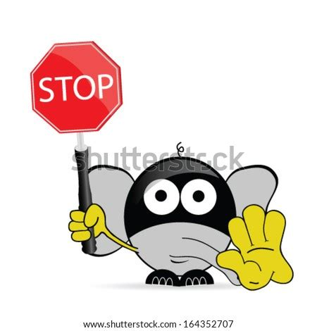 stop sign icon character illustration funny stock vector