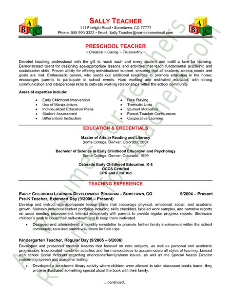 templates of resumes for teachers preschool resume sle page 1