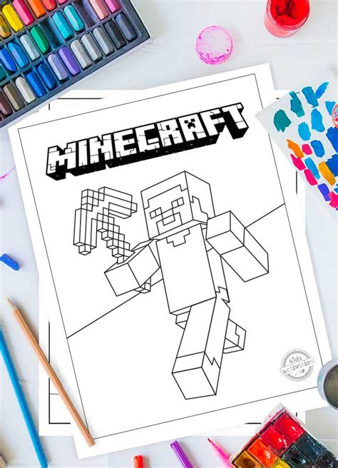 fun  adventurous  minecraft coloring pages  kids