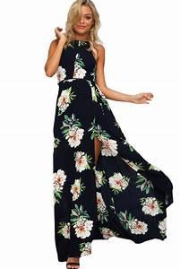 robe boheme longue fleurie impression noir fendu dos nu robe With robe fleurie noire