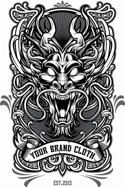 Vector Dragon Tshirt Template Tattoo Behance Illustration