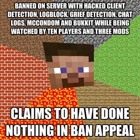 Funny Minecraft Memes - banned on server with hacked client detection logblock grief detection chat logs mccondom