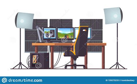 Live Game Streaming Equipment Setup With Pc Stock Vector