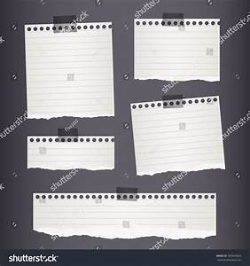 Pieces Torn White Lined Note Paper Stock Vector 383843845 ...