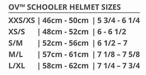 Ovation Schooler Helmet Size Chart Ovation Schooler Helmet
