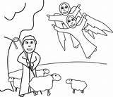 Coloring Angels Angel Shepherds sketch template