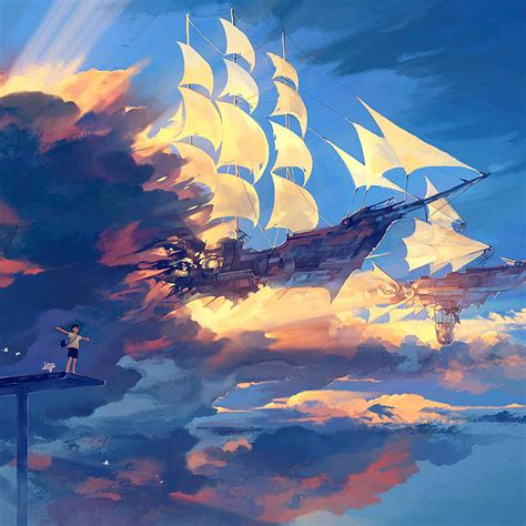 Relaxing Anime Wallpaper - az68 fly ship anime illustration blue wallpaper