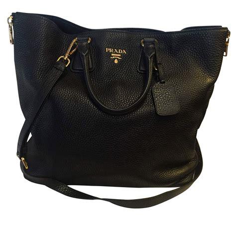 prada black leather tote bag  chic selection