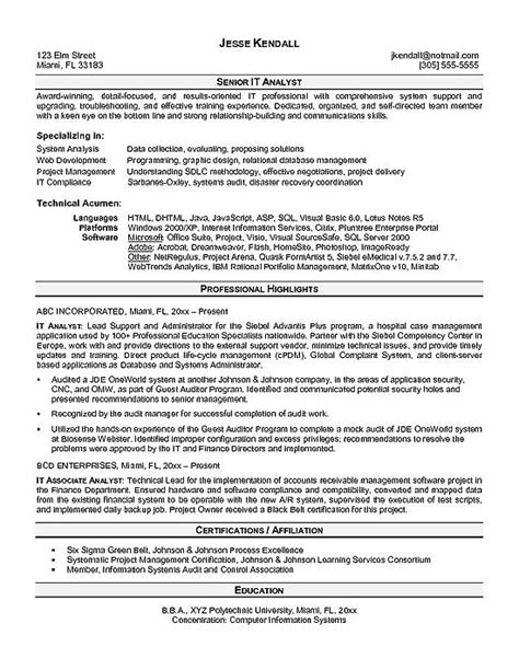 it analyst resume exle