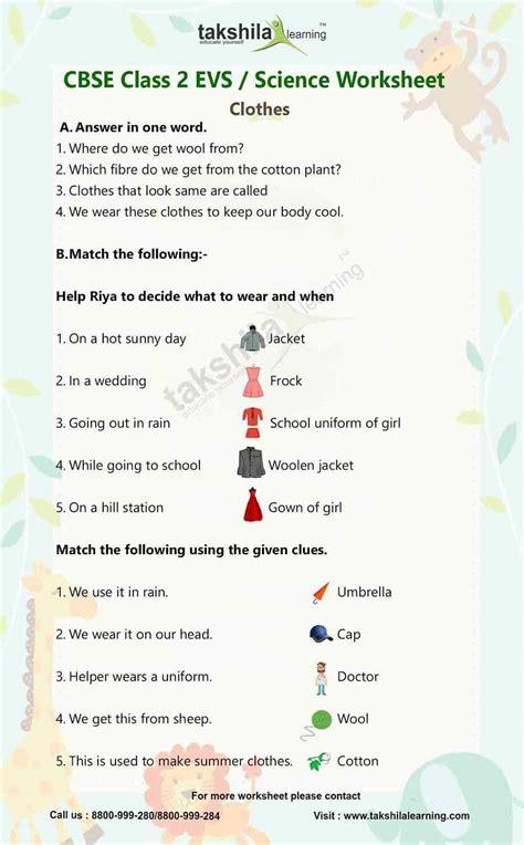Online Cbse Class 2 Evs  Science Worksheet Clothestakshilalearning