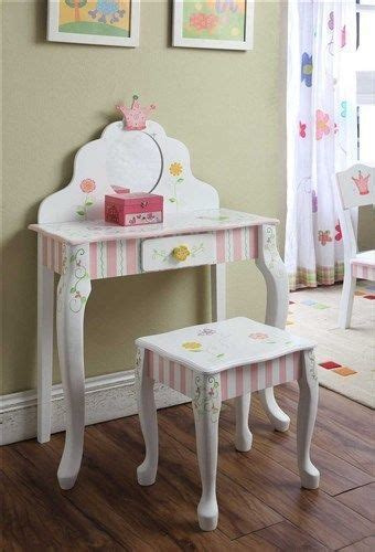 details  kids childrens girls bouquet classic pink vanity table stool set
