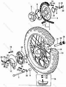 Honda Motorcycle 1976 Oem Parts Diagram For Rear Wheel