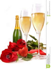 Wine Glass Decoration champagne glasses with red roses and little heart stock
