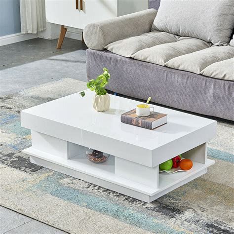 Search or browse live most watched ebay items/auctions. Modern High Gloss Coffee Tables End Side Table 2 Drawers Living Room White/Black | eBay