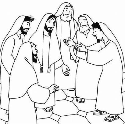Jesus Miracles Clipart Coloring Heals Healing Drawings