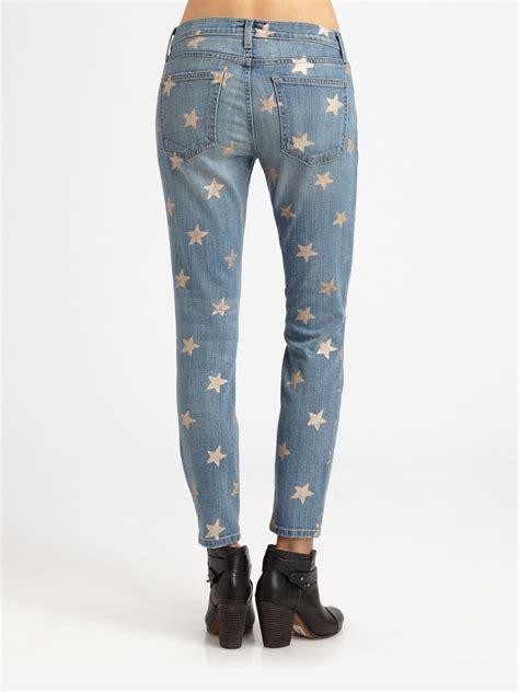 lyst currentelliott  stiletto starprint jeans  blue