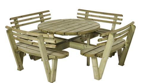 table pique nique rond 216 118 cm en bois avec 4 bancs et dossiers