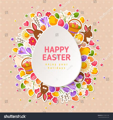egg template illustration happy easter greeting cards paper cut stock vector