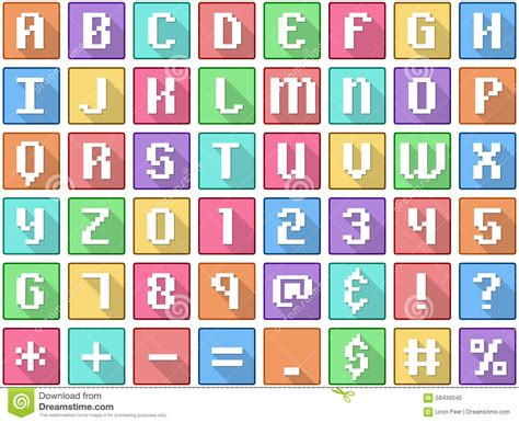 set of alphabet letters and icons for alphabet design alphabet and number flat icons set vector illustration 39852