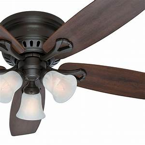 52 U0026quot  Hunter New Bronze Low Profile Ceiling Fan