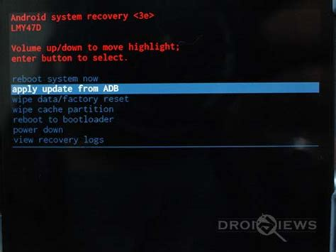 android system recovery 3e install android 5 1 lollipop ota zip on nexus 6 manually