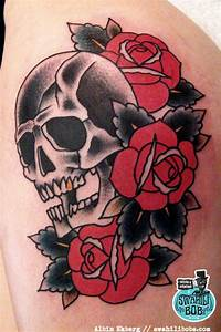 Traditional Skull And Rose Tattoos | Ideas Tattoo Collection