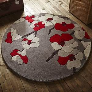 tapis de salon rond fleurs cerisier rouge par flair rugs With tapis rond salon