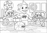 Colouring Pages Pool Swimming Lessons Open sketch template