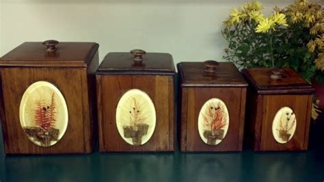 wooden kitchen canister sets gorgeous vintage dovetail wooden canister set four