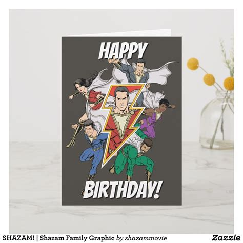Shazam is an application that can identify music, movies, advertising, and television shows, based on a short sample played and using the microphone on the device. SHAZAM!   Shazam Family Graphic Card   Zazzle.com   Graphic card, Shazam, Cards