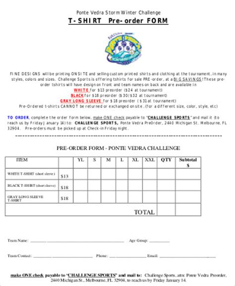shirt order form sample  examples  word