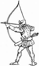 Archer Clipart Medieval Bow Drawing Long Archery Longbow Arrow Etc Simple Kleurplaat Ausmalbilder Broadhead sketch template