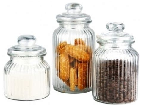 glass kitchen canister set new 3 glass kitchen canister set storage display ebay