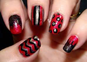 Latest red and black nail art trendy mods