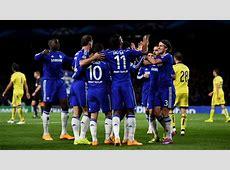 Chelsea FC players celebrate UEFA Champions League