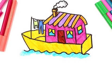House Boat Drawing by Drawing And Colouring A Boat House Learn Types Of Houses