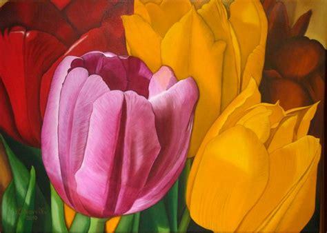 trittico  tulipani opera darte  tiziana novelli
